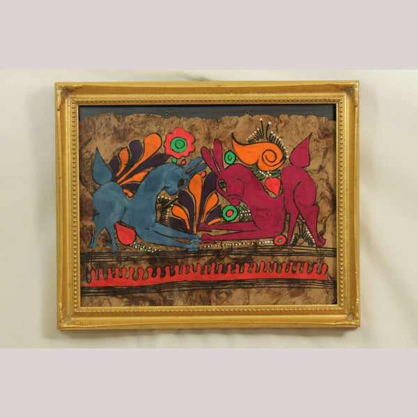 Vntg Mexican Amate/Bark Painting Painting Mexican Folk Art Collectible Rabbits