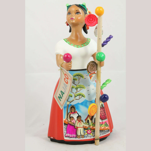 Lupita Ceramic Doll/Figurine Hard Candy Seller Mexican Red Skirt