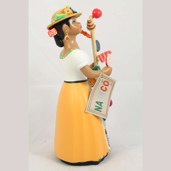 Lupita Ceramic Doll/Figurine Hard Candy Seller Hat Mexican Mustard