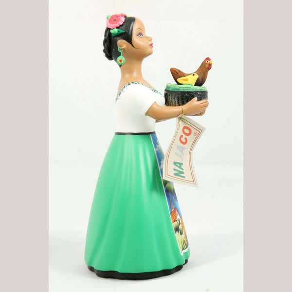 Lupita NAJACO Ceramic Figurine Chicken/Chicks Basket Mex Folk Art Lime Green #3