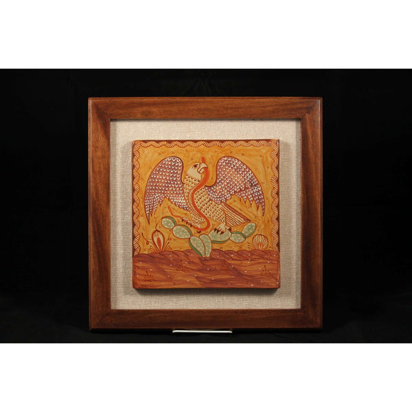 Mexican Hanging Ceramic/Pottery Wood Frame Folk Art Collectible P Pajarito Eagle