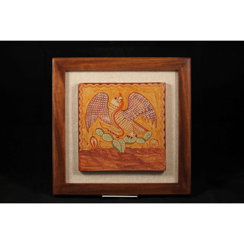 Wood Frame Eagle Ceramic Tile Mexican, Pablo Pajarito