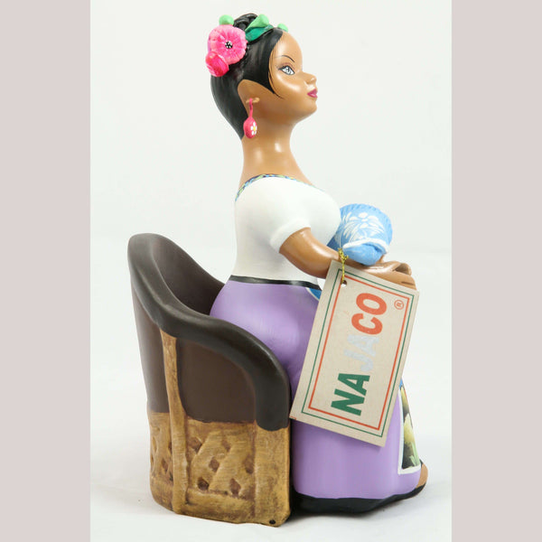 Lupita NAJACO Ceramic Doll/Figurine Mexican Folk Art Seated Holding Baby Lilac