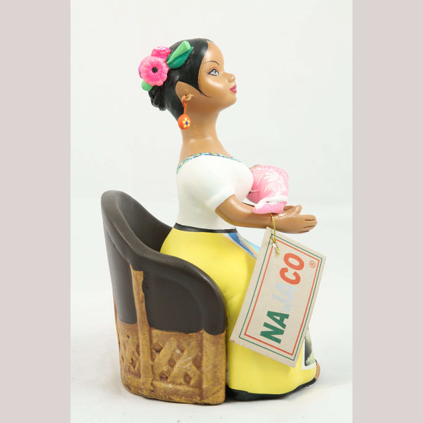 Lupita NAJACO Ceramic Doll/Figurine Seated Holding Baby Mexican Folk Art Yellow