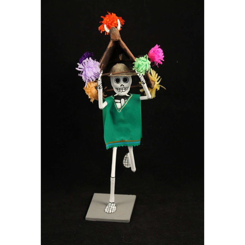 Festive Green Skeleton in Paper Mache Mexican Artist Signed Handmade/Painted