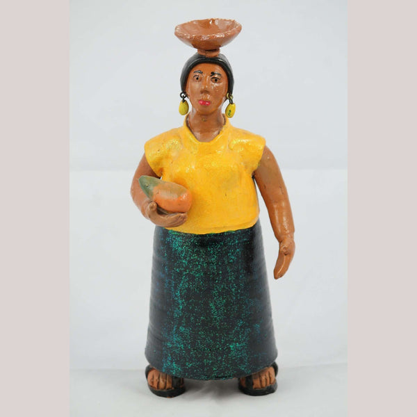 Mexican Ceramic/Pottery Woman/Female Figurine Folk Art Collectible Hand Made