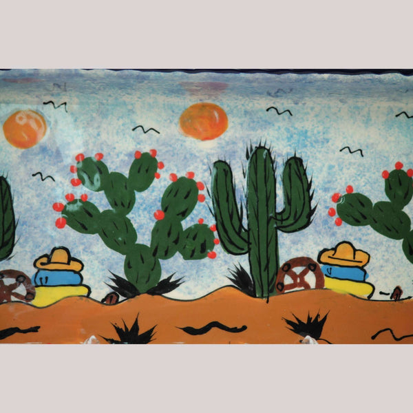 Medium Rectangle Ceramic Platter Hand Painted Mexican Folk Art Cacti/Men