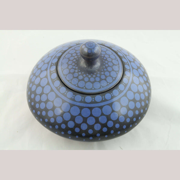 Mexican Ceramic/Pottery Jar w Lid Mexican Folk Art Milagros Solis Luna Blue Dots