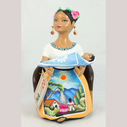 Lupita NAJACO Ceramic Doll/Figurine Chair w Baby Mexican Folk Art Mustard #2
