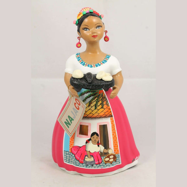 Lupita Najaco Ceramic Doll in Fuchsia making Gorditas on Metate Mexican