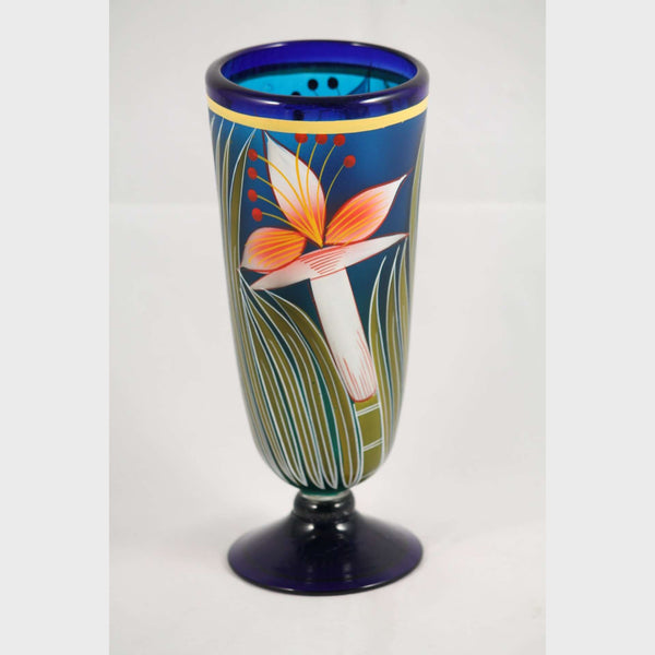 Vintage Mexican Glass Vase Hand Blownpainted Original