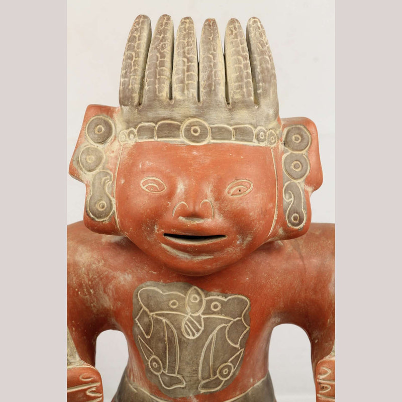 X-Lg Mexican Ceramic Figurine of Mayan Man w Corn Head Piece & Holding Maize #2