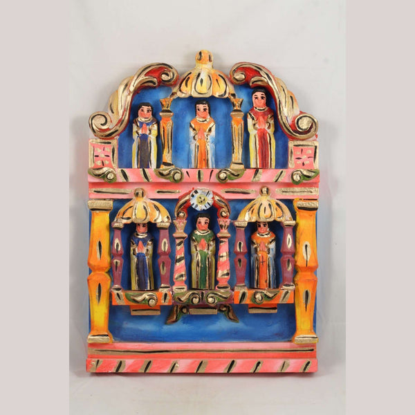 Lg Wood Reliquary w Saints Rustic Religious Mexican Folk Art Handmade/Painted
