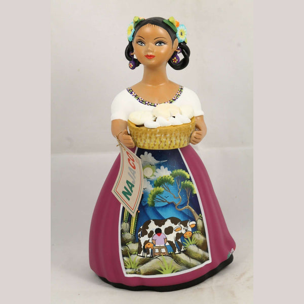 "Premium ""Lupita"" Doll NAJACO Ceramic Purple Skirt Mexican Cheese Basket #2"