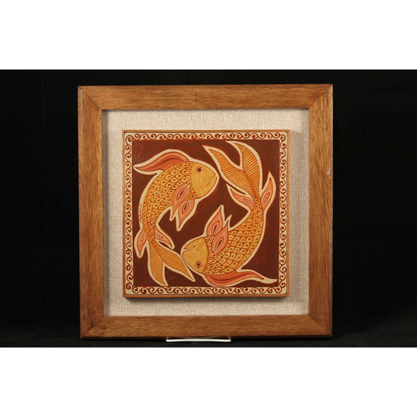Mexican Hanging Ceramicpottery Wood Frame Folk Art Collectible Fish