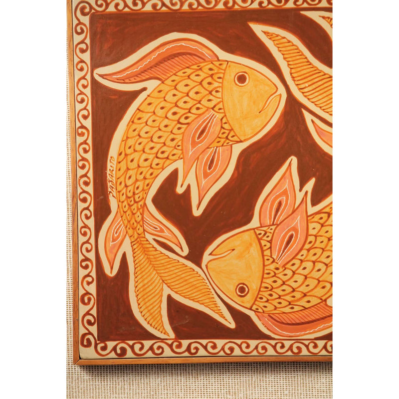 Mexican Hanging Ceramic/Pottery Wood Frame Folk Art Collectible P Pajarito Fish
