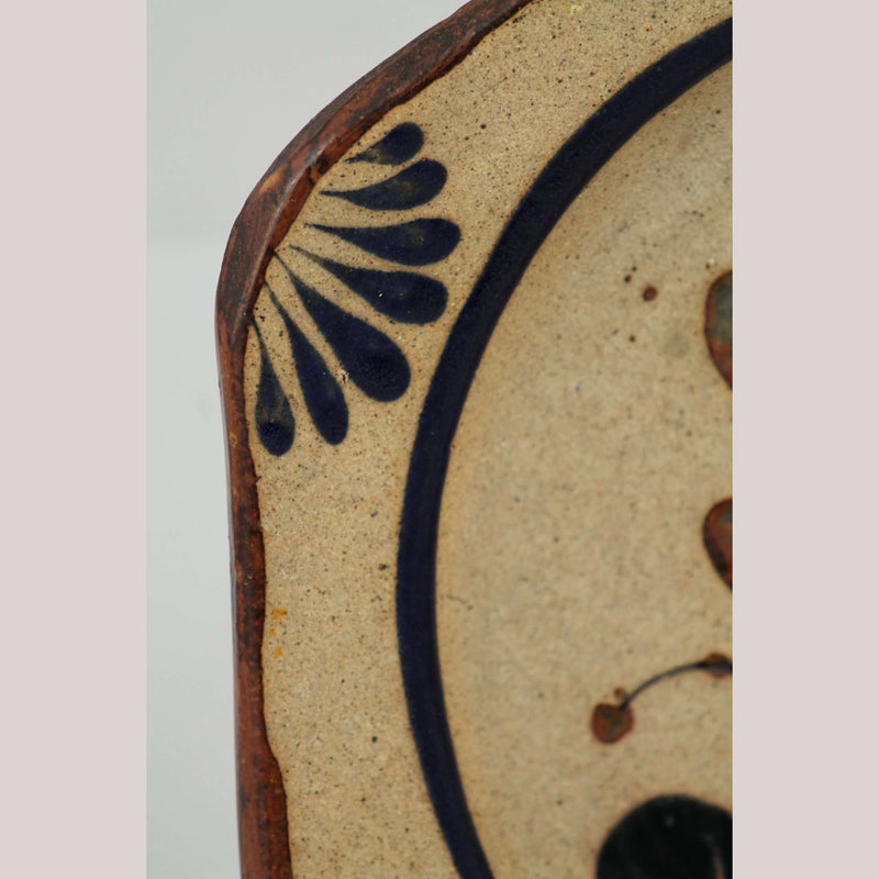 Mexican Raised Ceramic Hanging Plate Hand Painted Folk Art Bird Blue/Flower