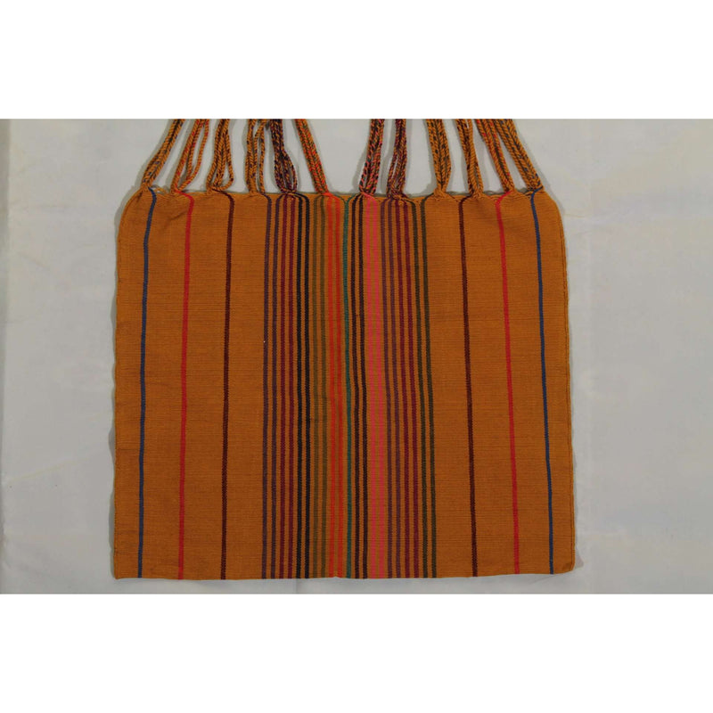 Mexican Hand Loomed Cloth Tote/Bag/Purse Folk Art Puebla Mexico Textile Gold