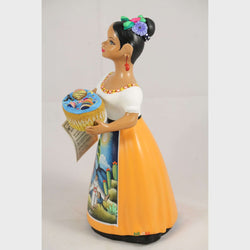 """Lupita"" Female Ceramic Doll Toy Basket Original Mexican Clay Pottery Mustard"