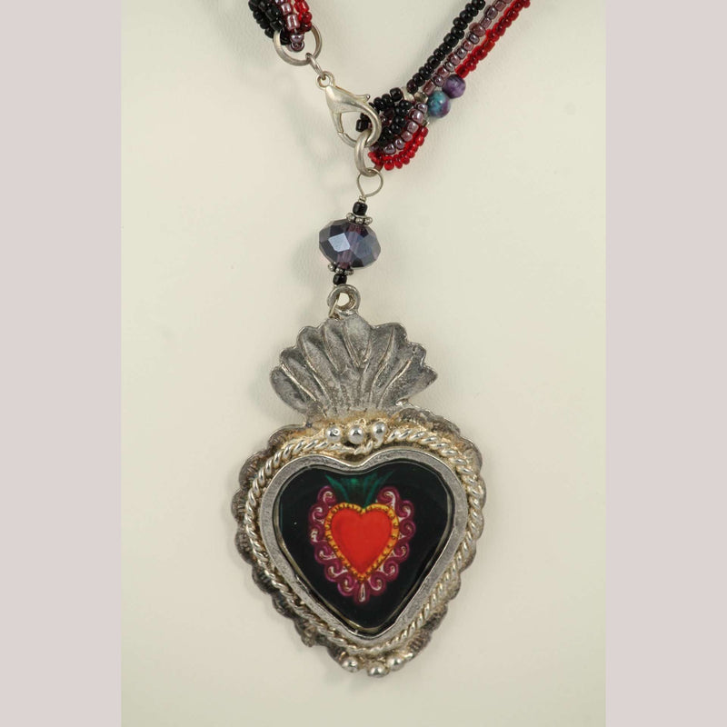 Hand Crafted Necklace Jewelry Mexican Folk Art Ethnic Collectible Metal Heart