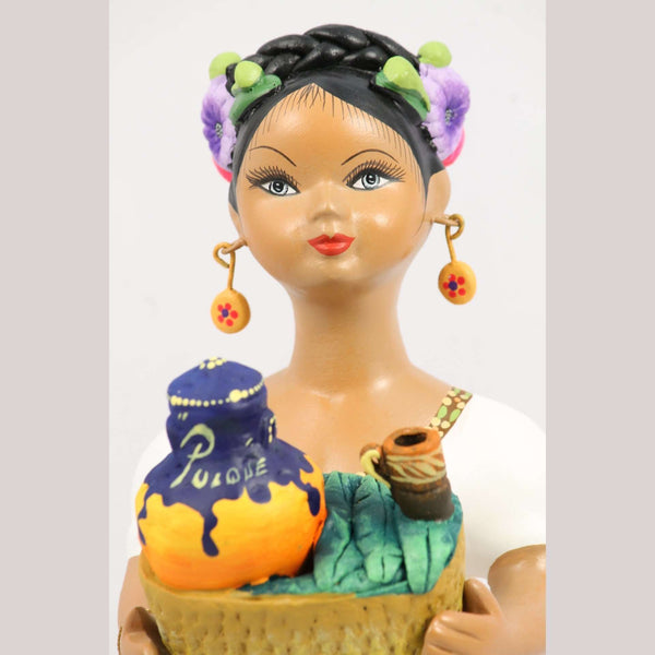 """Lupita"" Najaco Doll Ceramic Figurine Pulque Seller Mustard Dress"