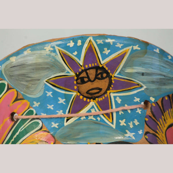 Vntg Mexican Ceramic Hanging Mask Folk Art Hand Made/Painted Decor Purple Moon