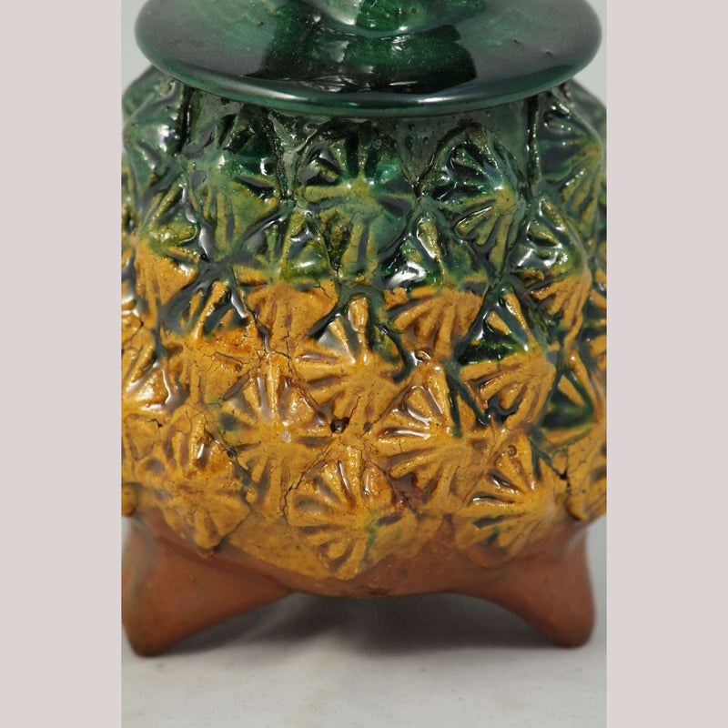 Ceramic Pineapple/Lid Mexico Folk Art Hand Made Collectible Decor Yellow/Gr #2