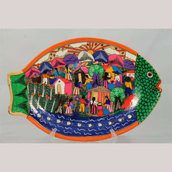 Vintage Ceramic Hanging Fish Shaped Platter Mexico Folk Art Collectible Colorful