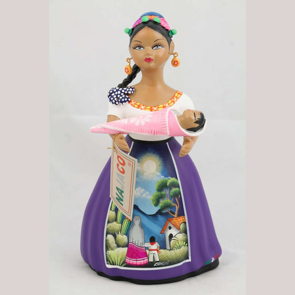 Lupita Royal Blue Doll Ceramic Mexican Folk Art Holding Baby