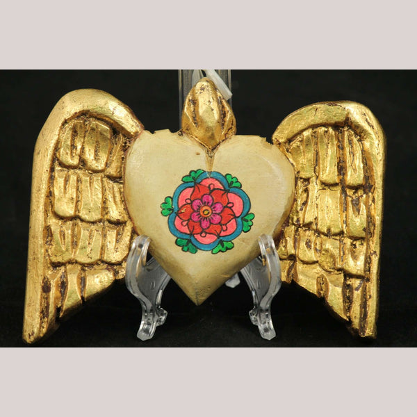 New Wood Hanging Heart w Wings/Flower Handmade/Painted Rustic Mexican Folk Art