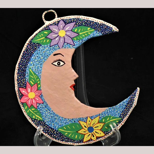 Decorative Paper Mache Hanging Crescent Moon Signed Hand Made Mexican Folk Art