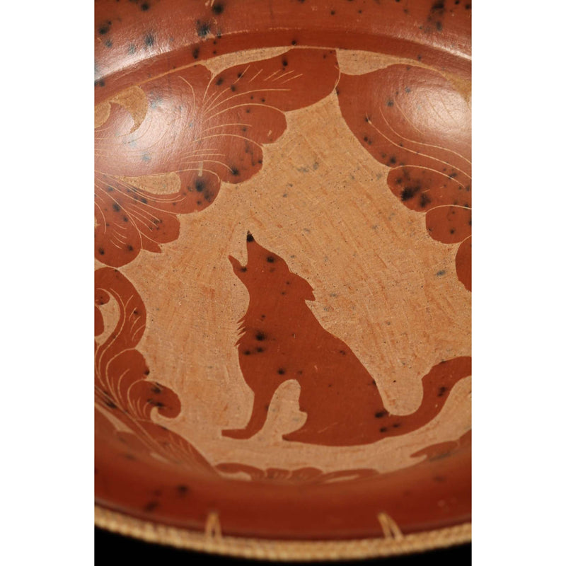 Large Southwestern Handcrafted Ceramic Bowl Coyote