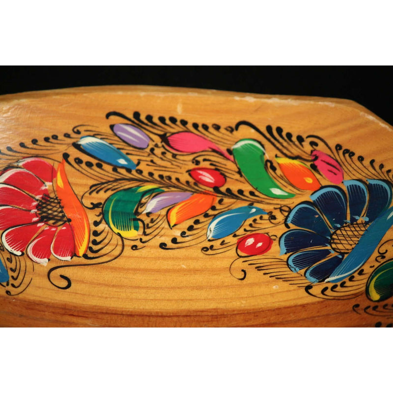 Wooden Mexican Hand Made / Painted Bowl w Flowers