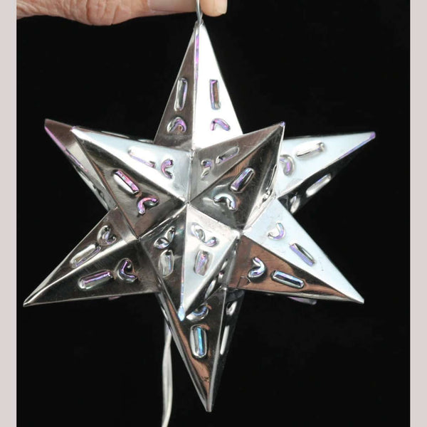 Silver Tin Hanging w Opening Star Mexican Folk Art Handmade Decor Collectibles
