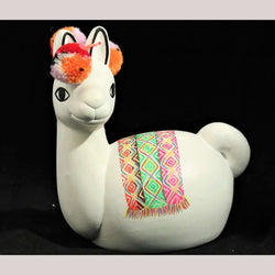 Decorative Ceramic Llama Coin Bank Hand Decorated Peruvian Folk Art