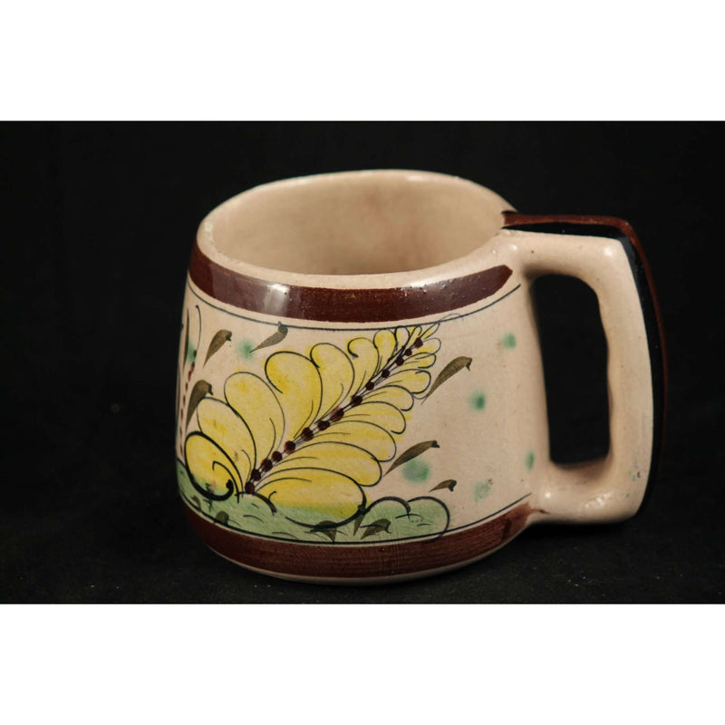 Vintage Mexican Ceramic Hand Made Painted Mug Tonala