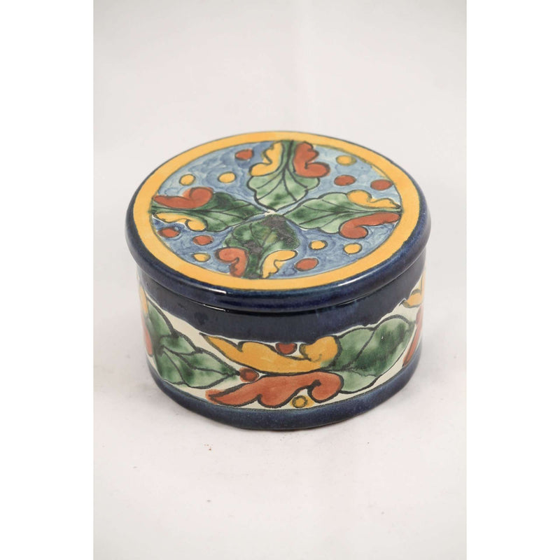 Handmade/ Painted Mexican Ceramic Circle Box w Lid