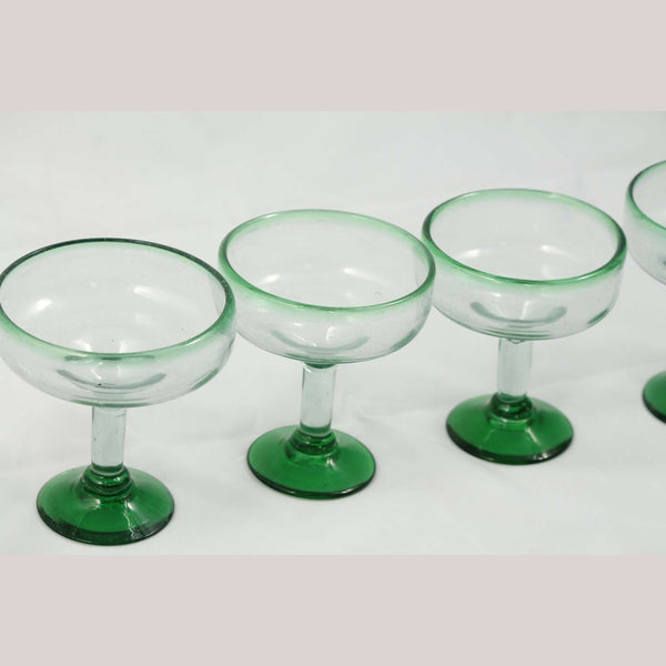Mexican Green Rim & Base Margarita Glasses Hand Blown (Set of 4)