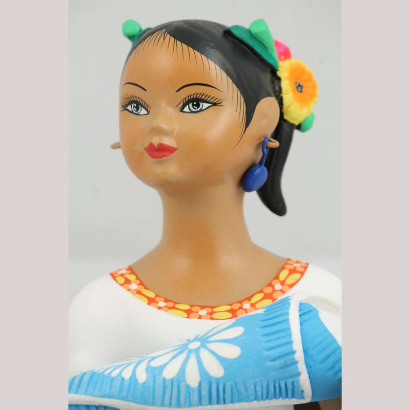 Lupita Doll Sitting w Baby Celeste Blue Skirt Ceramic Mexican Folk Art
