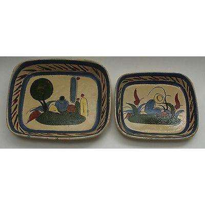 Vintage Mexican Serving Dish  1920's/ 30's Set of 2 Original