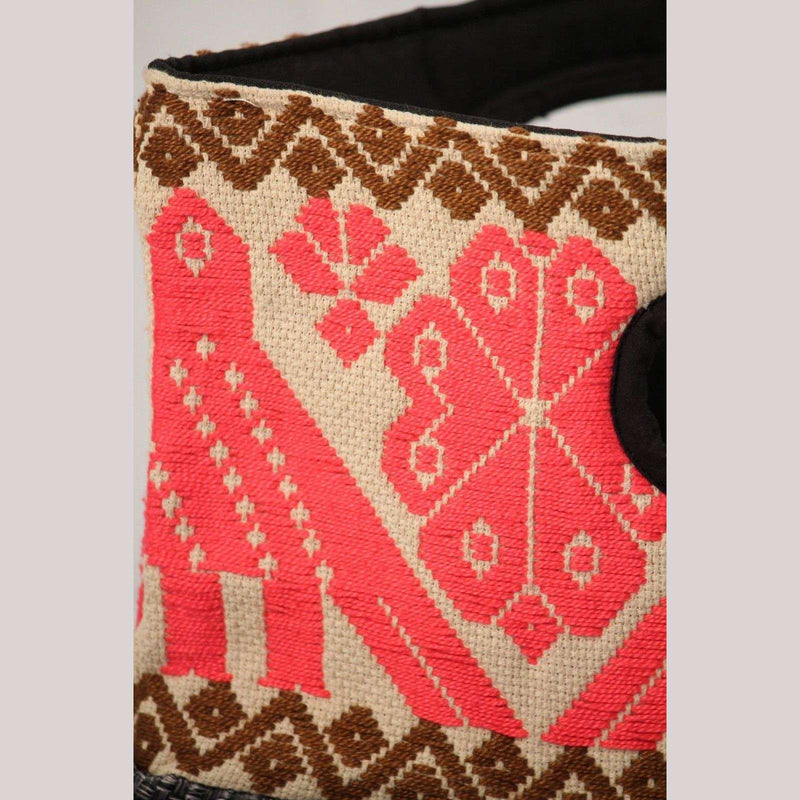 Mexican Purse/Bag/Tote Hand Embroidered Folk Art Mexico Textile Collectible Pink