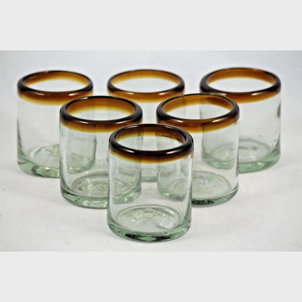 Amber Rim Juice Glasses, Set of 6, Mexican Hand Crafted Glassware