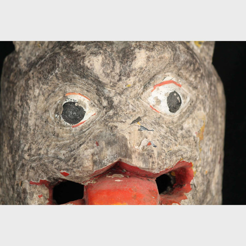 Antique Mexican Large Wood Mask Face-Animals, Hand Made/Painted