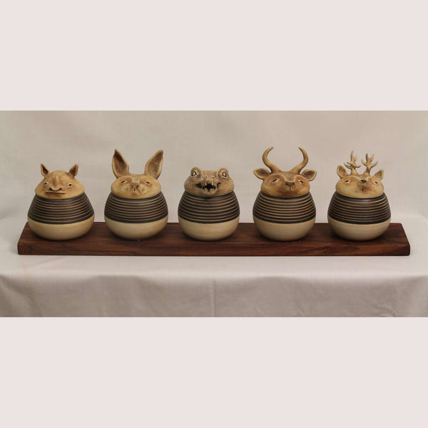 Ceramic Containers Animal Shape Mexican Fine Art Signed Set of 5