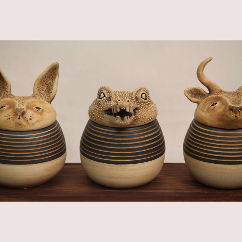 Set of 5 Animal Shaped Ceramic Containers Signed Mexican Fine Art