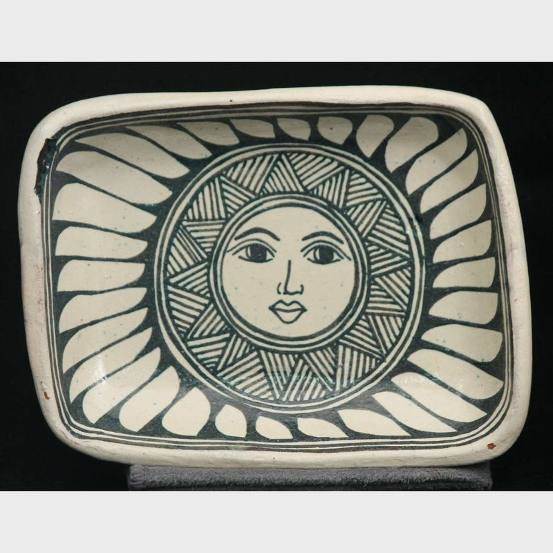 Ceramic Rectangle Trinket Dish Sun Sign Angelica Morales Mexican