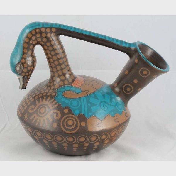 Ceramic Swan, Large, Mexican Folk Art Hand Painted/Formed