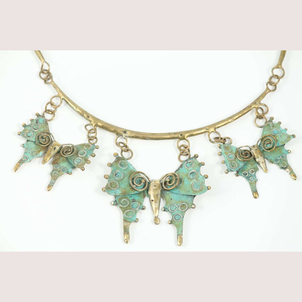 """Butterflies"" Bronze Necklace Mexican Art Custom Jewelry Hand Crafted"