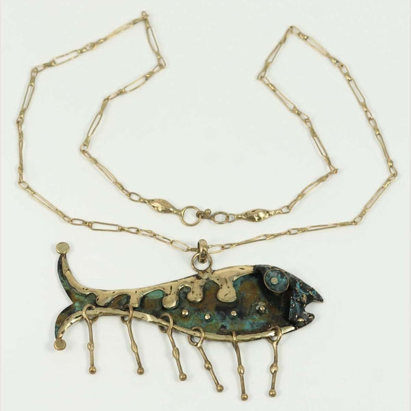 "Bronze ""Fish"" Pendant Necklace Mexican Art Custom Jewelry Hand Crafted"