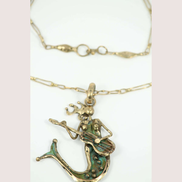 Hand Crafted Necklace Jewelry Mexican Folk Art Bronze Original Mermaid/Guitar
